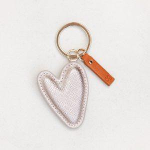 Caroline Gardner Metallic Heart Padded Keyring-0