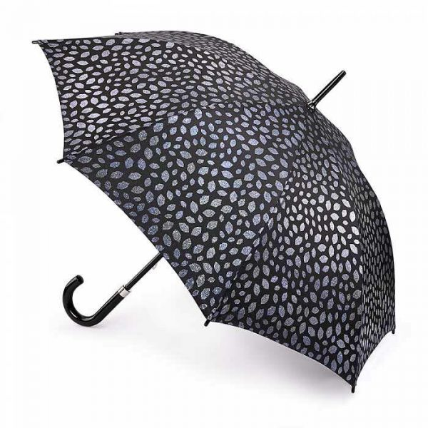 Lulu Guinness Pewter Scattered Lips Walking Umbrella-0