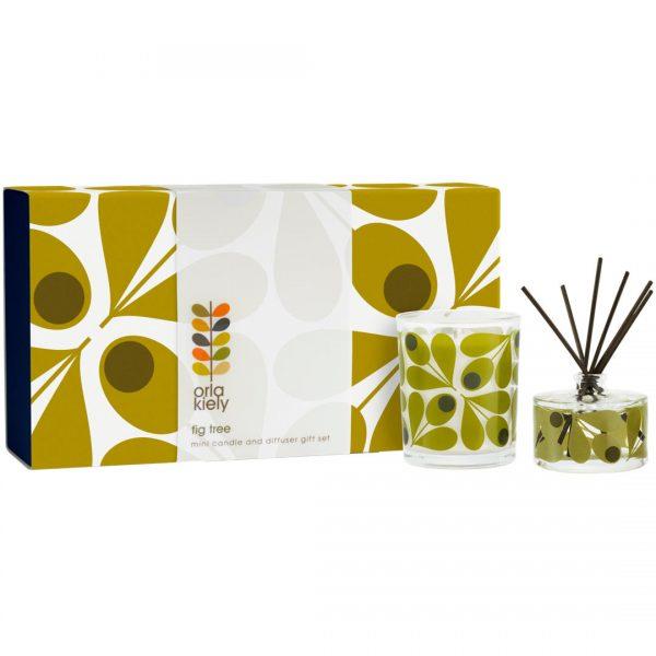 Orla Kiely Acorn Fig Tree Mini Candle & Diffuser Gift Set-0