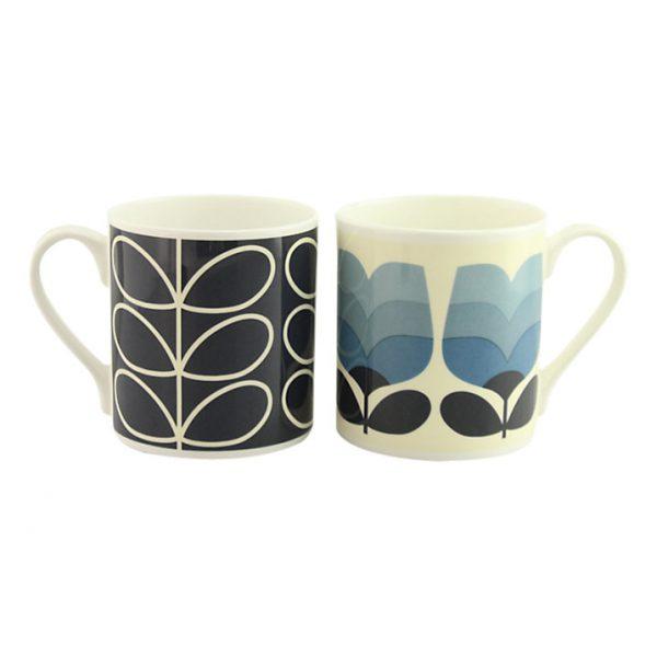Orla Kiely Set of 2 Blue & Stem Tonal Mugs Gift Boxed-0