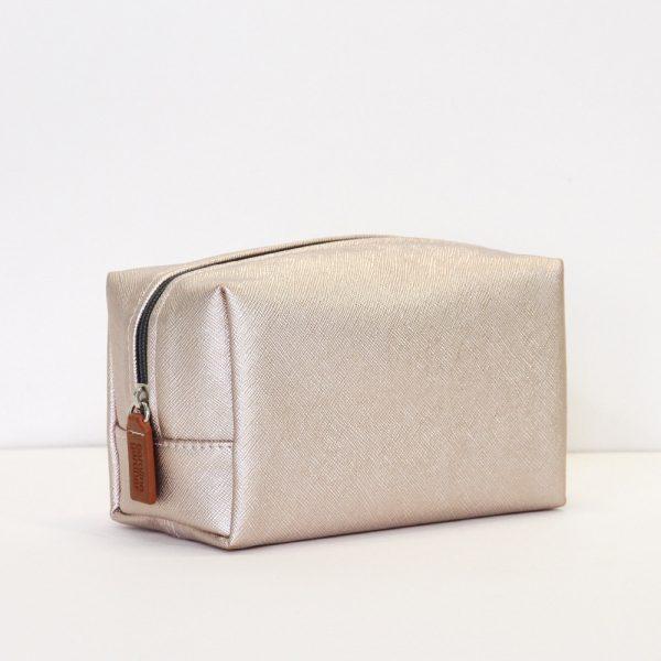 Caroline Gardner Rose Gold Metallic Cosmetic Bag-0