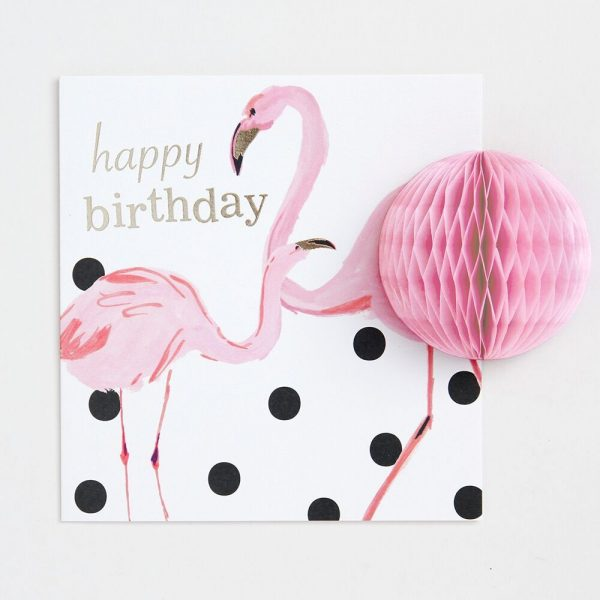 Caroline Gardner Pom Pom Happy Birthday Flamingos Card-0