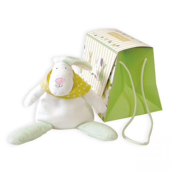 Rufus Rabbit Neutral Beanie Toy & Gift Bag-0