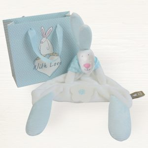 Rufus Rabbit Baby Boy Blue Comforter & Gift Bag-0