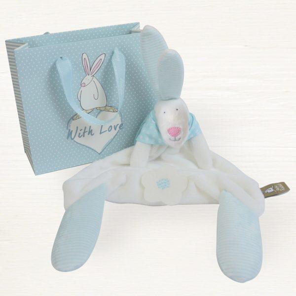 Rufus Rabbit Baby Boy Blue Comforter & Gift Bag-0
