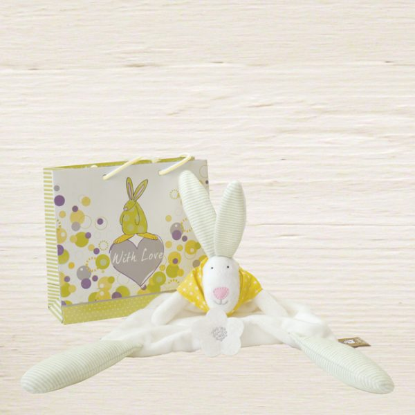 Rufus Rabbit Baby Yellow Comforter & Gift Bag-0