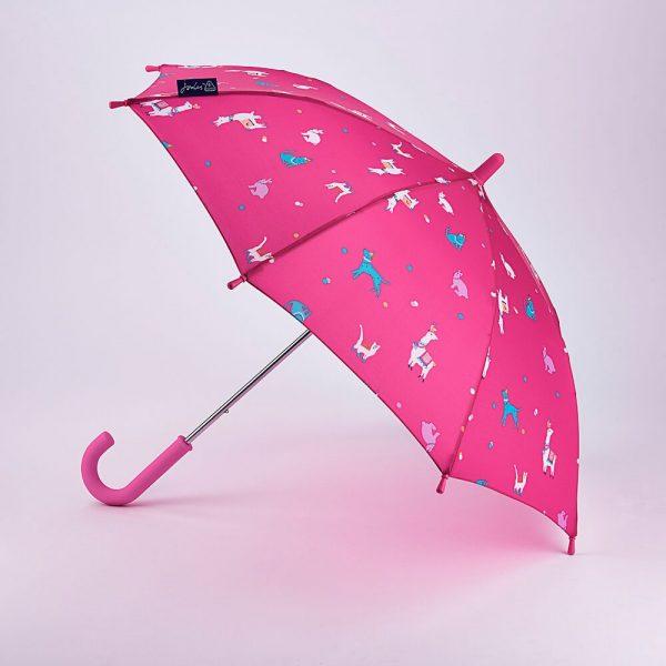 Joules Junior Pink Festival Animals Umbrella -0