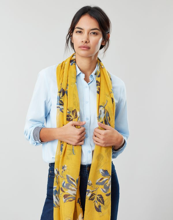 Joules Gold Floral Wensley Scarf-3717