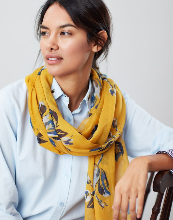 Joules Gold Floral Wensley Scarf-3716