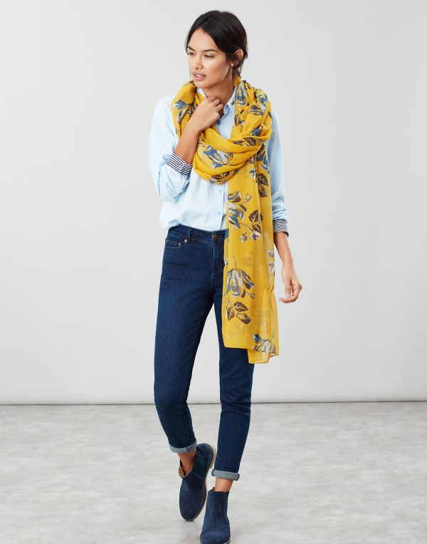 Joules Gold Floral Wensley Scarf-0