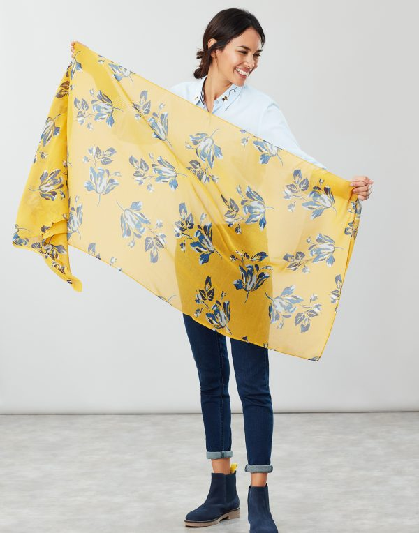 Joules Gold Floral Wensley Scarf-3719
