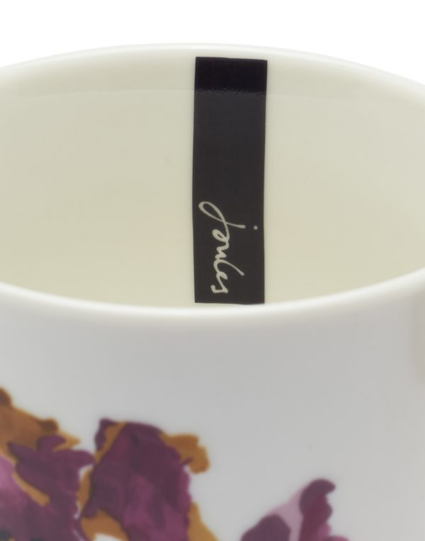 Joules White Floral Peony Mug, Gift Boxed-3532