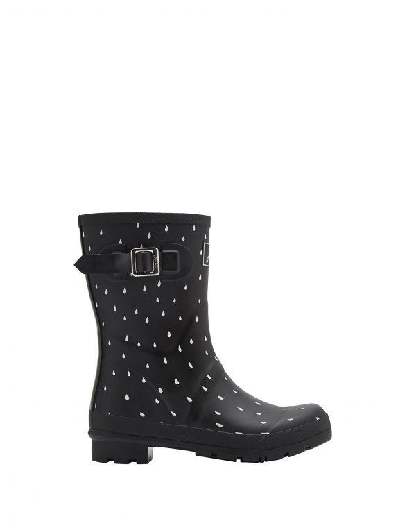 Joules Rain Drops Print Mid Height Wellington Boots, Black-3042
