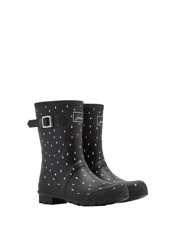 Joules Rain Drops Print Mid Height Wellington Boots, Black-0