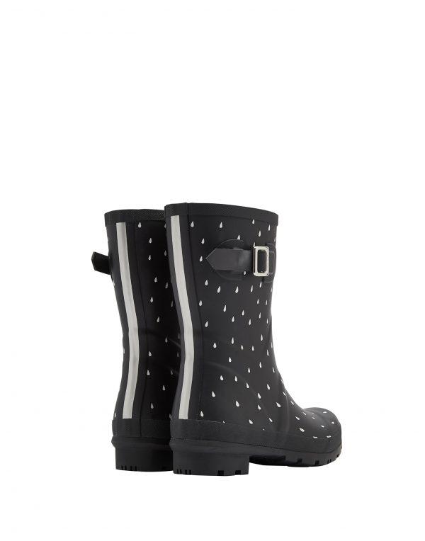 Joules Rain Drops Print Mid Height Wellington Boots, Black-2856