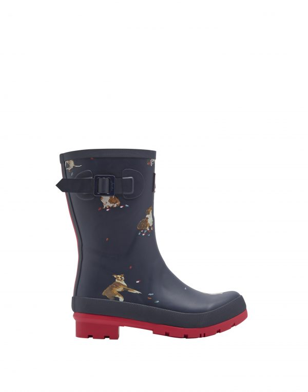 Joules Dogs Print Mid Height Wellington Boots-3041