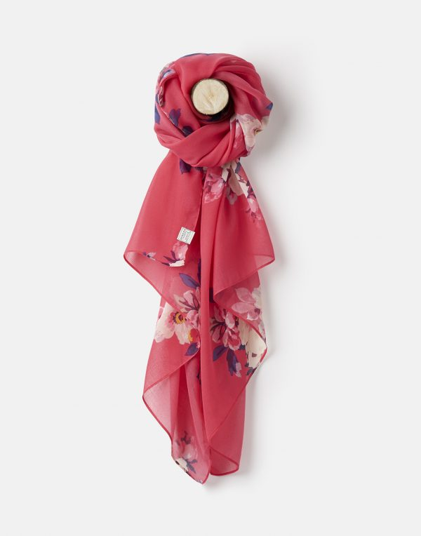 Joules Raspberry Bircham Bloom Wensley Scarf-0