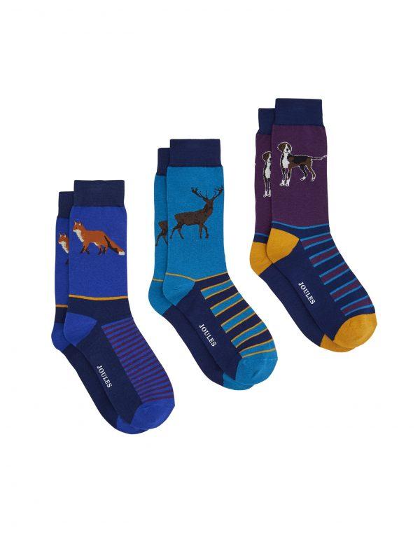 Joules Mens Striking Socks Game Animal, Pack of 3-0