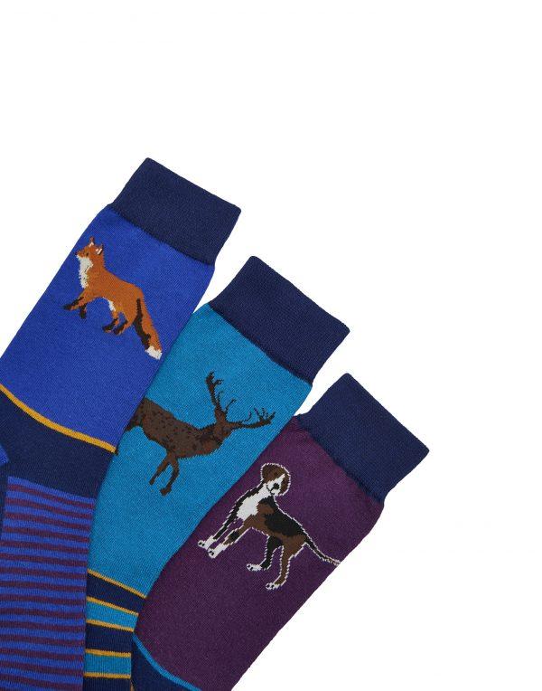 Joules Mens Striking Socks Game Animal, Pack of 3-2924