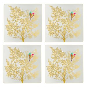 Sara Miller Chelsea Lovebirds Set Of 4 Square Placemats -0