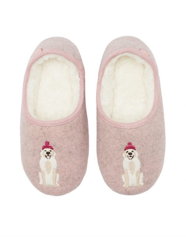 Joules Pink Golden Retriever Dog Slippers -0