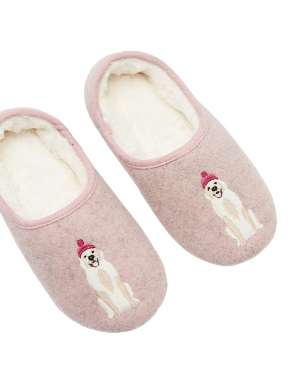 Joules Pink Golden Retriever Dog Slippers -3711