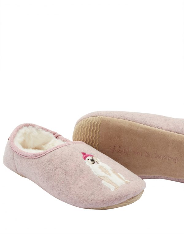 Joules Pink Golden Retriever Dog Slippers -3714