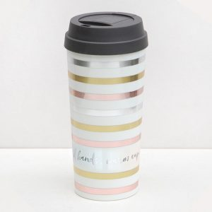 Caroline Gardner Metallic Stripe Thermal Travel Mug-0