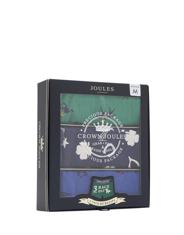 Joules Crown Joules Race Day Printed Boxers, 3 Pack-3054