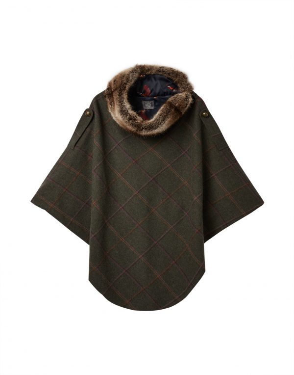 Joules Hazelwood Dark Green Check Tweed Poncho with Faux Fur Collar-3705