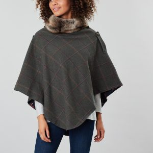 Joules Hazelwood Dark Green Check Tweed Poncho with Faux Fur Collar-0