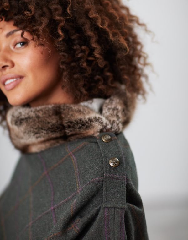 Joules Hazelwood Dark Green Check Tweed Poncho with Faux Fur Collar-3706