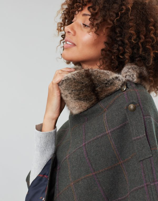 Joules Hazelwood Dark Green Check Tweed Poncho with Faux Fur Collar-3710