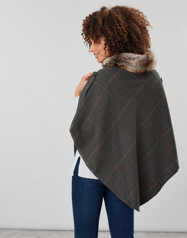 Joules Hazelwood Dark Green Check Tweed Poncho with Faux Fur Collar-3708