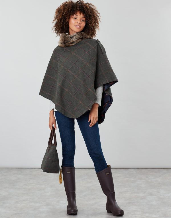Joules Hazelwood Dark Green Check Tweed Poncho with Faux Fur Collar-3709
