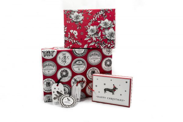 Alice Scott Nest of 3 Gift Boxes, Dashing Dogs, Botanical & Pomande-0