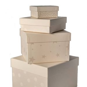 Emma Bridgewater Pearlised Stars & Hearts Set of 4 Gift Boxes -0
