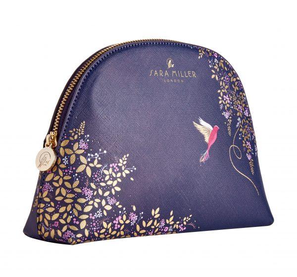 Sara Miller London Medium Navy Blue Cosmetics Bag-0