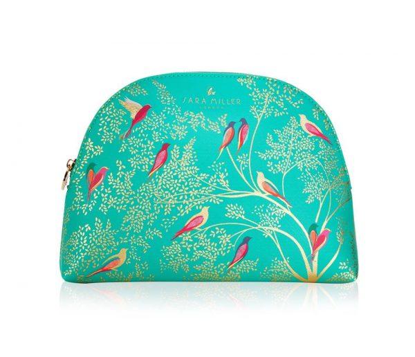 Sara Miller Large Green Birds Cosmetics Bag-3170