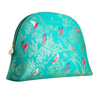 Sara Miller Large Green Birds Cosmetics Bag-0