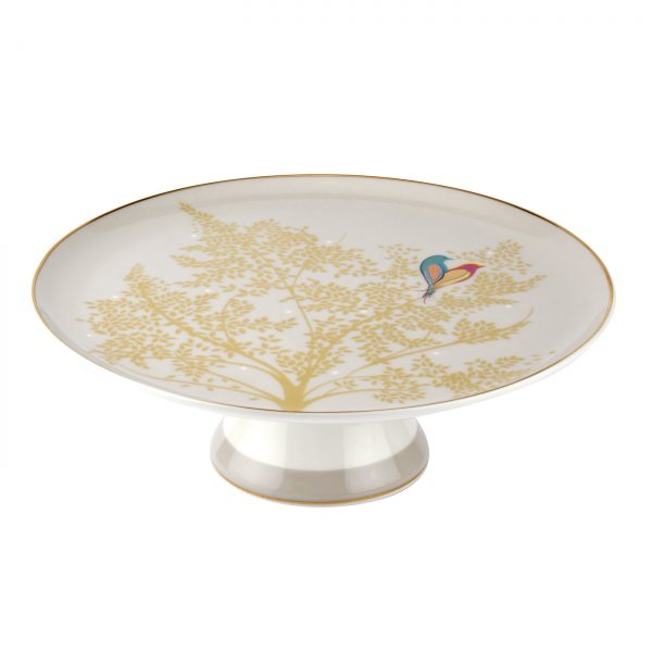 Sara Miller Grey Lovebirds Round Cake Stand Gift Boxed-3196