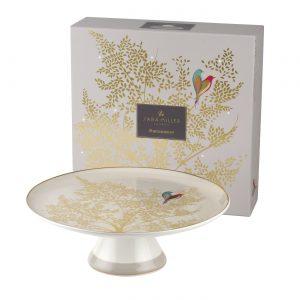 Sara Miller Grey Lovebirds Round Cake Stand Gift Boxed-0