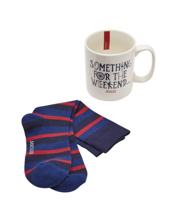 Joules Men's Something For The Weekend Mug & Bamboo Sock Gift Set-3150