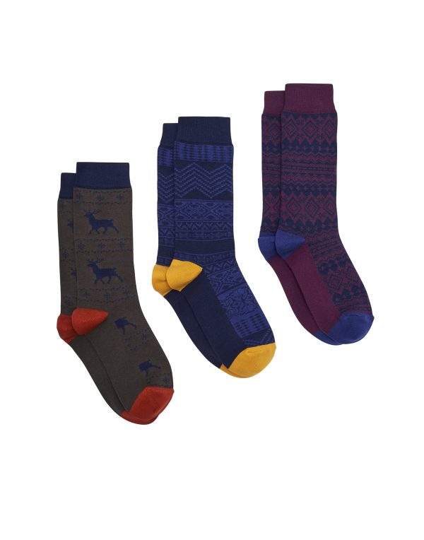Joules Men's Striking Christmas Socks 3pk Gift Boxed, Fairisle -3134