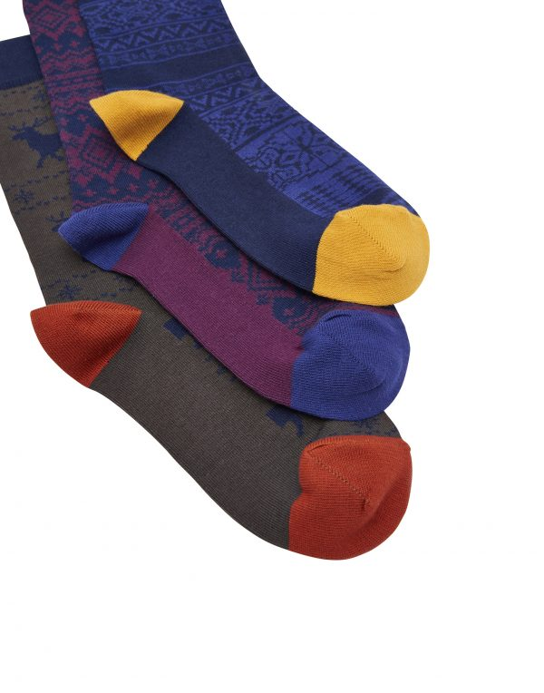 Joules Men's Striking Christmas Socks 3pk Gift Boxed, Fairisle -3136