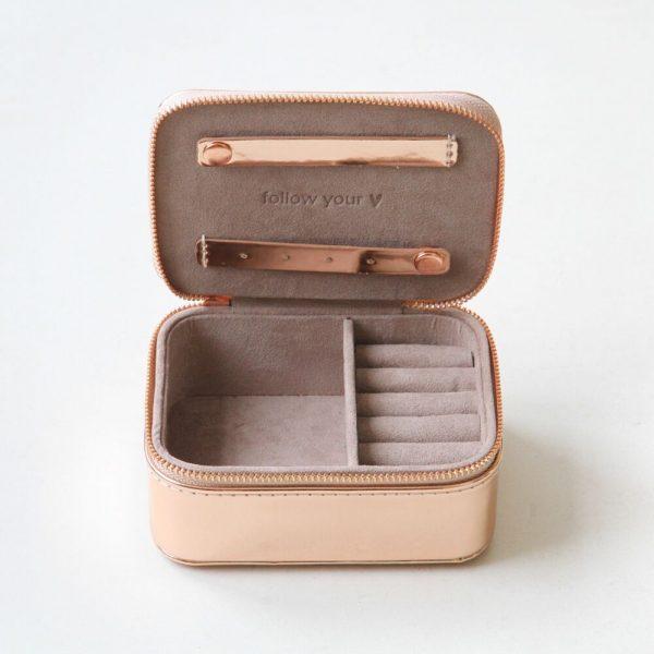 Caroline Gardner Metallic Rose Gold Travel Jewellery Box-0