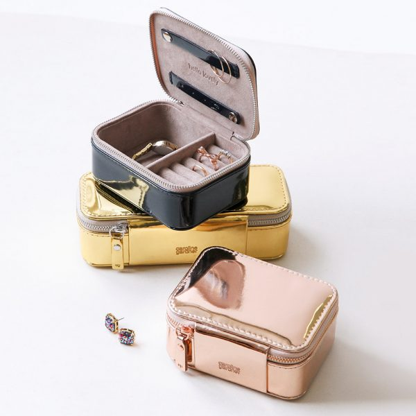 Caroline Gardner Metallic Rose Gold Travel Jewellery Box-3242