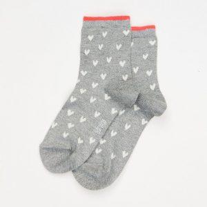 Caroline Gardner Grey Heart Socks -0