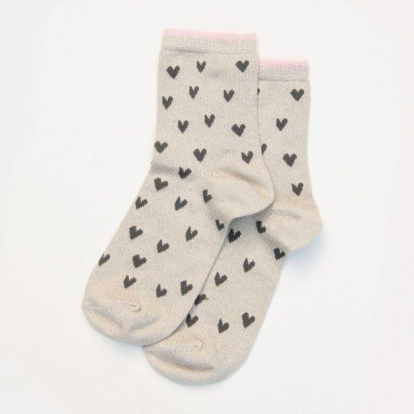 Caroline Gardner Oatmeal Hearts Socks -0