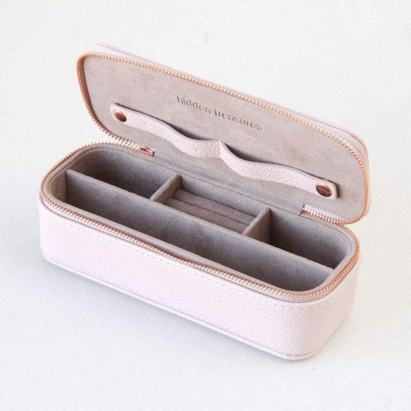 Caroline Gardner Blush Pink Slim Travel Jewellery Box-0